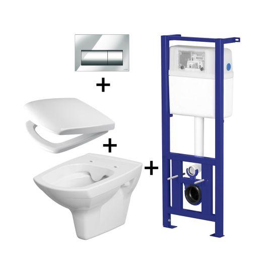 Pachet ALL IN ONE TREVI 627 compus din rezervor incastrat LINK + vas WC suspendat Carina Clean On + capac WC duroplast cadere lenta Carina + clapeta Link crom stralucitor Presto