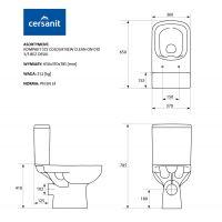 Vas WC compact 572 alimentare laterala Colour Clean On Cersanit (fara capac)