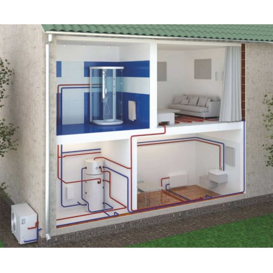 Pompa caldura aer-apa, 8000W, racire+incalzire, boiler 300 litri inox, Eldom Green Line