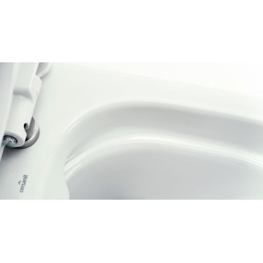 Vas WC 599 compact alimentare laterala Easy Clean On Cersanit (capac duroplast cadere lenta inclus)