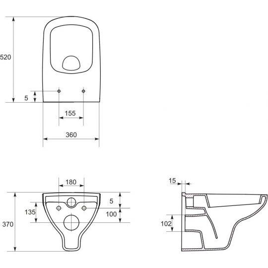 Vas WC suspendat Colour Clean On Cersanit (capac separat)
