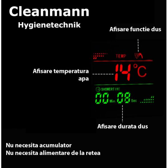 Panou dus hidromasaj inox 5 functii Digital Thermo Satin Cleanmann