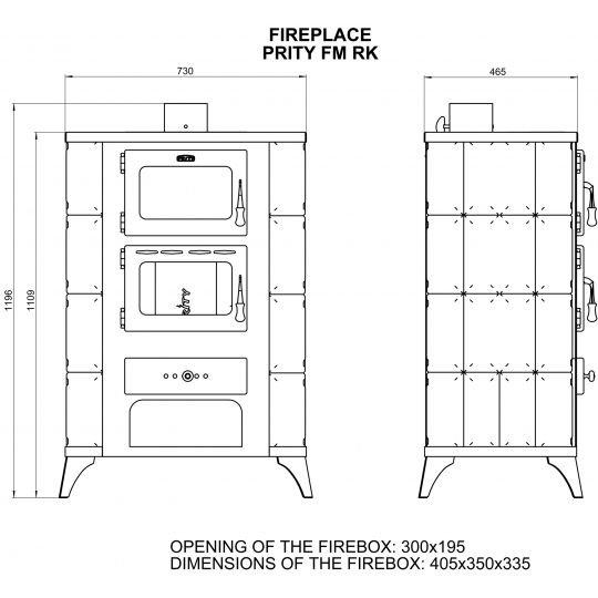 Soba incalzit cu cuptor Prity FM Elegance 12 kW, laterale teracota Crem