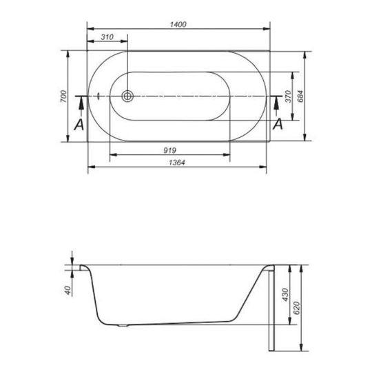 Cada de baie ABS Cersanit Octavia 140x70 cm + set picioare inclus