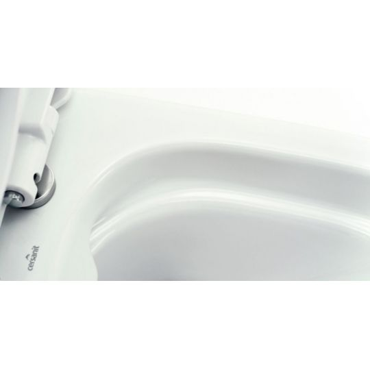 Set vas WC 600 compact alimentare inferioara Easy Clean On Cersanit + capac duroplast cadere lenta Easy Cersanit