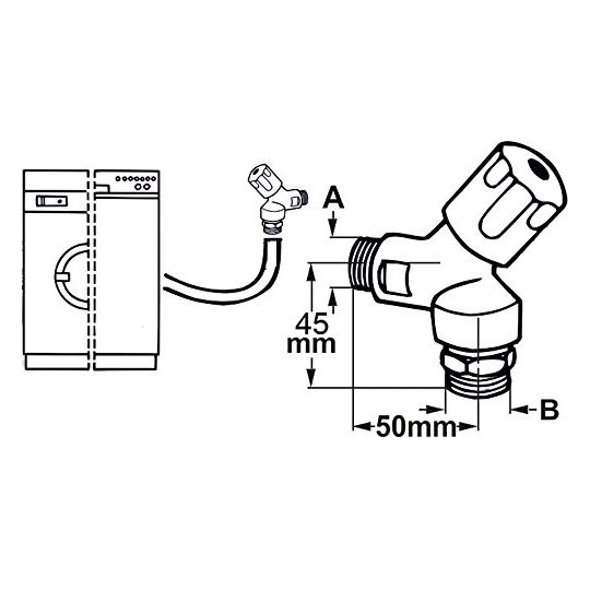 Robinet pentru masina de spalat, tip coltar 1/2-3/4 Cornat