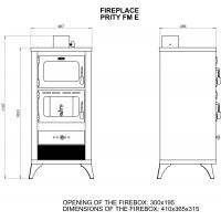 Soba incalzit cu cuptor Prity FM 12 kW Elegance, pe picioare