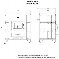 Soba incalzit Prity K2-RK Elegance 10 kW, laterale teracota Alun