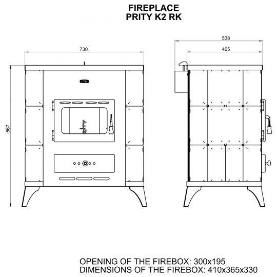 Soba incalzit Prity K2-RK Elegance 10 kW, laterale teracota Maro
