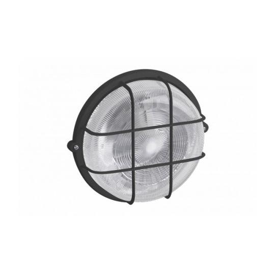 Aplica Rotunda Neagra E27, 100W, cu Grilaj Metalic, Meister