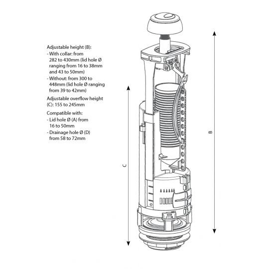 Kit mecanism evacuare 3/6 l vase WC Cersanit / Cleanmann