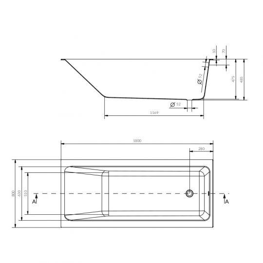 Cada de baie Cersanit Crea 180x80 cm + set picioare inclus