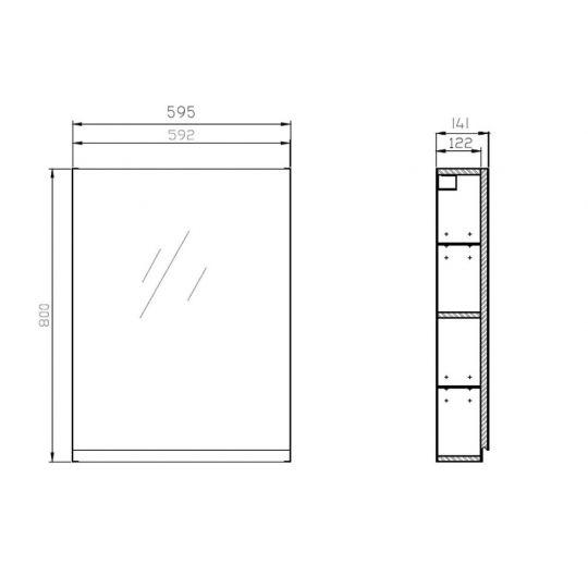 Dulap cu oglinda 60x80 cm, alb ,Cersanit Moduo (asamblat)