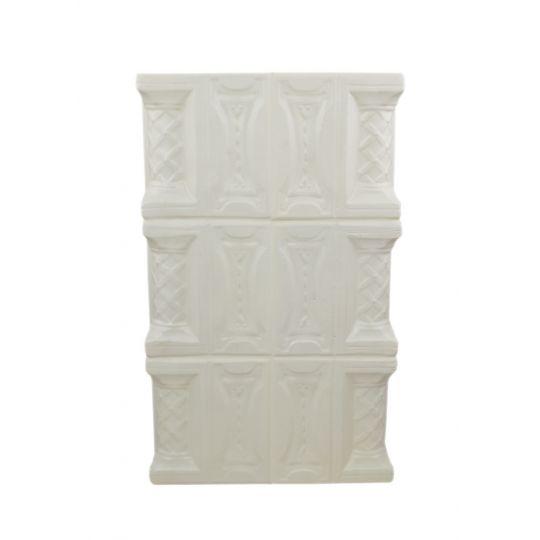 Perete teracota 3 randuri, T, alb