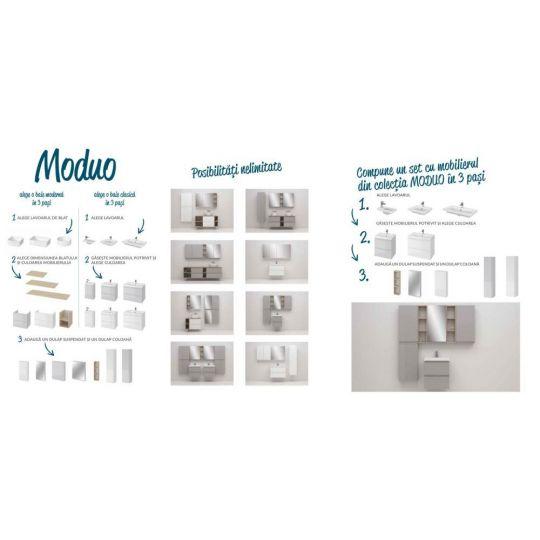 Set dulap baie Moduo alb + lavoar Moduo 40 Cersanit