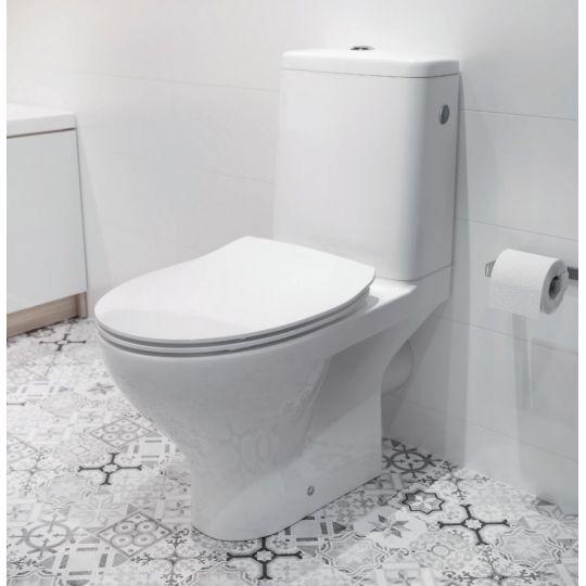 Set vas WC 649 compact alimentare laterala Moduo Clean On Cersanit + capac Slim duroplast cadere lenta inclus, One Button