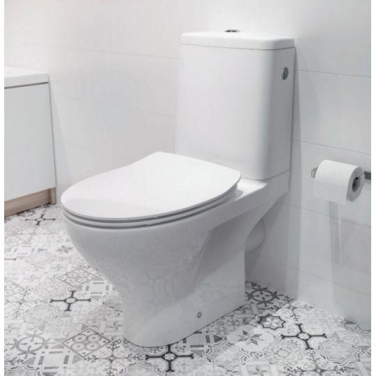 Set vas WC 651 compact alimentare inferioara Moduo Clean On Cersanit + capac Slim duroplast cadere lenta inclus, One Button