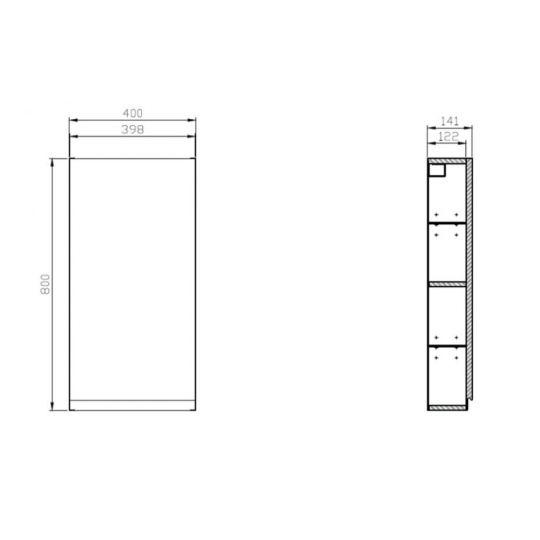 Dulap suspendat 40x80 cm, gri ,Cersanit Moduo (kit asamblare)
