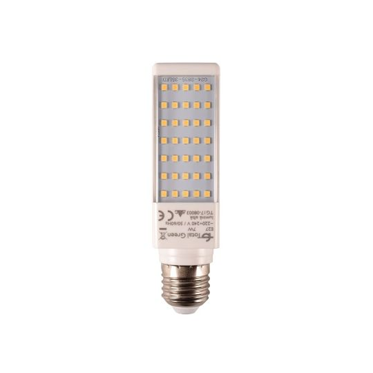 Bec LED 7W, PL-C, E27, lumina rece neutru 4000K, Total Green