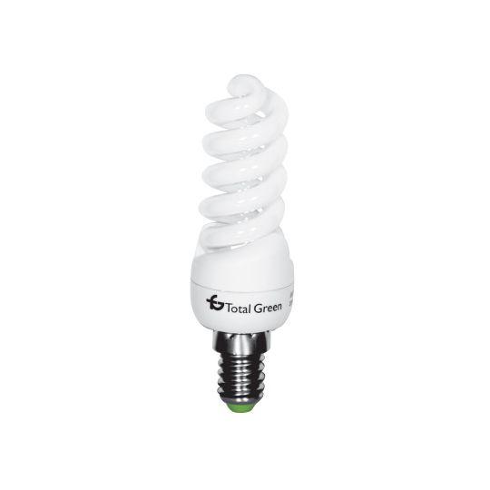 Bec economic T2 11W, spirala, E14, lumina calda 2700K, Total Green