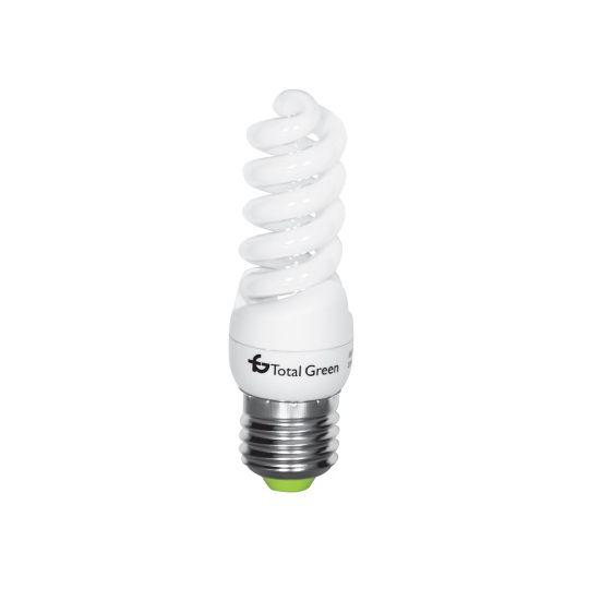 Bec economic T2 15W, spirala, E27, lumina rece 6400K, Total Green