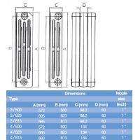 Element calorifer fonta Demir Ridem Plus 3/500, 97W