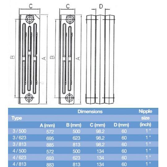 Element calorifer fonta Demir Ridem Plus 4/623, 145W