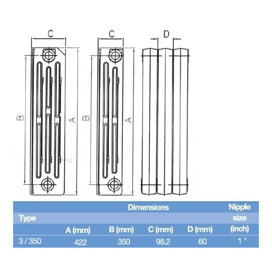 Element calorifer fonta Demir Ridem 3/350, 73W