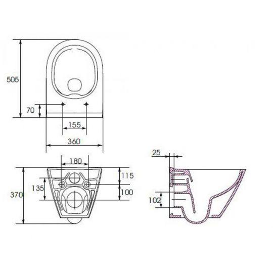Vas WC suspendat City Oval Clean On Cersanit (capac separat)
