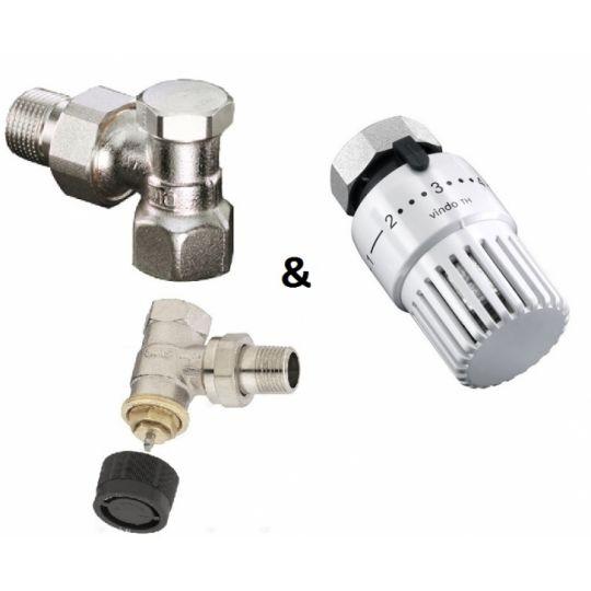 Set robineti calorifer tur + retur 1/2 + cap termostatat 1673704 Vindo TH Oventrop