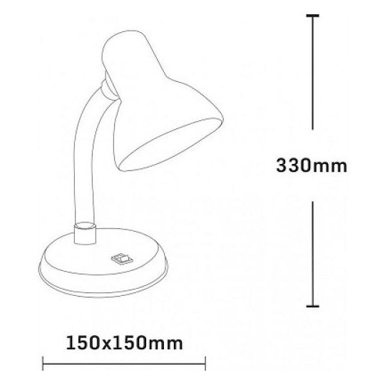 Lampa de Birou Clasic, 60W, Negru, 1xE27, Erste
