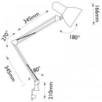 Lampa de Birou Desk, Max. 60W, Rosu, 1xE27, Erste