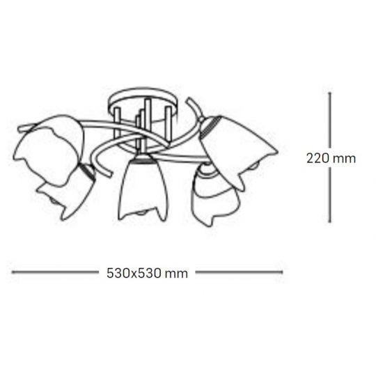 Lustra Interior Silvia, 5 x E27, Max. 60W, Crom+Ananas, Erste