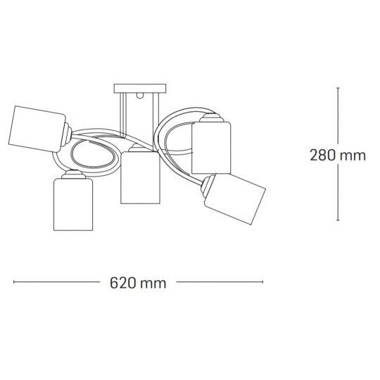 Lustra Interior Calypso, 5 x E27, Max. 60W, Crom, Erste