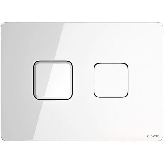 Buton actionare dubla comanda, actionare pneumatica Accento Square Glass, alb Cersanit