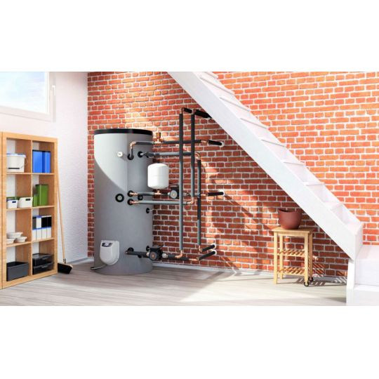 Boiler mixt cu 2 serpentine Eldom , capacitate 300 L, 9 kW, pe podea, control digital