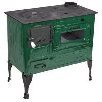 Soba gatit cu plita fonta, Eco, 5 kW, picioare otel Verde