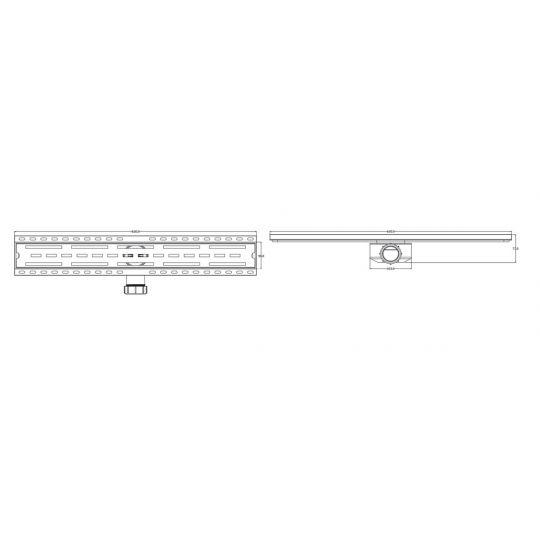 Rigola dus PVC, Gehler cu gratar inox ,600x90 mm, 1 1/2 mm