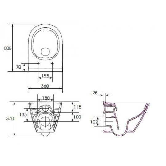 Set B32 Cersanit rezervor incastrat + buton Accento Circle, crom lucios + vas WC City Oval + Capac cadere lenta