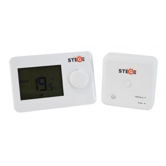 Termostat neprogramabil, Wireless, LCD, iluminare LED, Stege WT100 RF