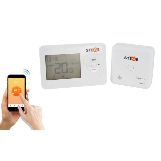 Termostat programabil, Wireless, LCD, iluminare LED, Stege WT200 WI-FI, control prin smartphone