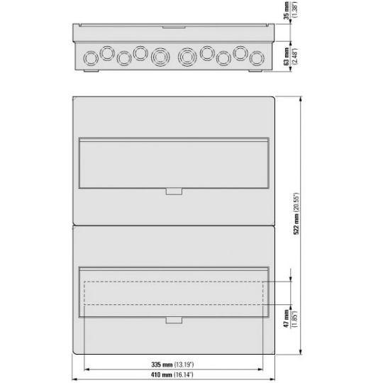 Tablou sigurante 36 module, IP40 EATON