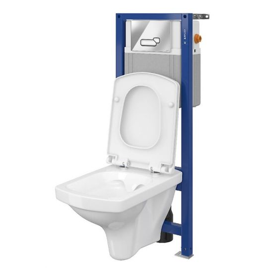 Set 880 Cersanit rezervor incastrat + buton Actis, crom lucios + vas WC Easy + Capac cadere lenta