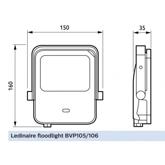 Proiector LED Philips Ledinaire, 10W, lumina neutra 4000 K