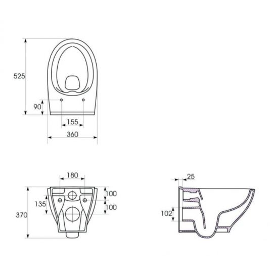 Set B57 Cersanit rezervor incastrat + buton Pilot Glass, alb + vas WC Moduo + Capac cadere lenta, model WRAP