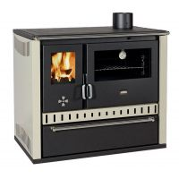 Masina de gatit din otel Prity GTFSSDR, 15 kW, rama cuptor otel, plita otel, cu sertar, culoare Ivory