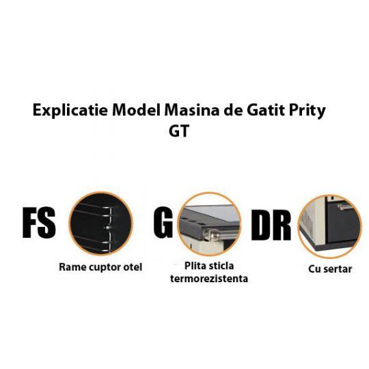 Masina de gatit din otel Prity GTFSGDR, 15 kW, rama cuptor otel, plita sticla termorezistenta, cu sertar, culoare Ivory