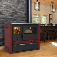 Masina de gatit din otel Prity GTFIGDR, 15 kW, rama cuptor inox, plita sticla termorezistenta, cu sertar, culoare Bordo