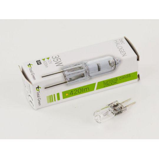 Bec halogen 35W, G4, 12V, lumina calda 2800K, Total Green