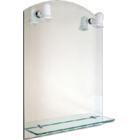 Oglinda de baie 60x80 cm cu etajera si lampa